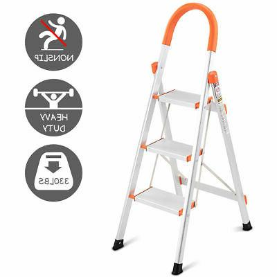 3-Step Aluminum Ladder Folding Metal Step Stool Platform 330