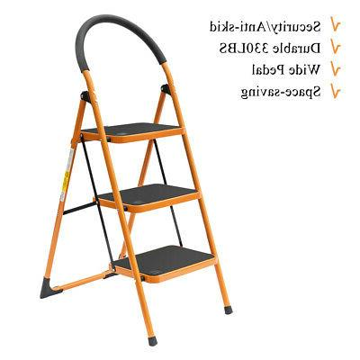 3-Step Iron Ladder Folding Stool Heavy Duty Industrial Light