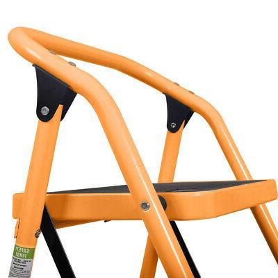 3 Steps Ladder Folding Ladder Safety Kitchen Home Orange