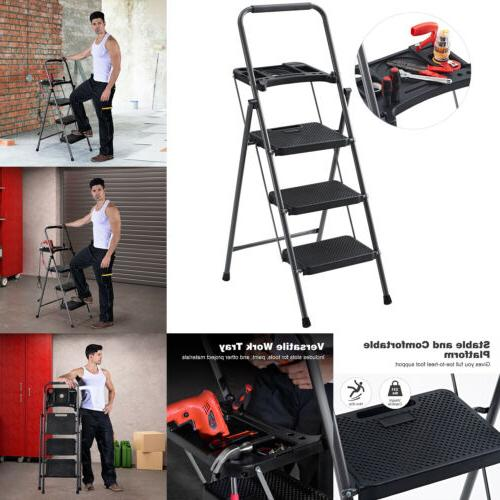 Finether Portable Folding 3-Step Ladder Steel Non-Slip Tread