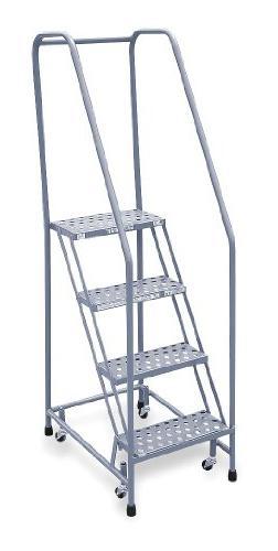 Rolling Ladder, Assembled, Handrail, Platform 40 In H