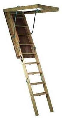 LOUISVILLE S305P Big Boy Attic Ladder,7 Ft to 8 Ft 9 In