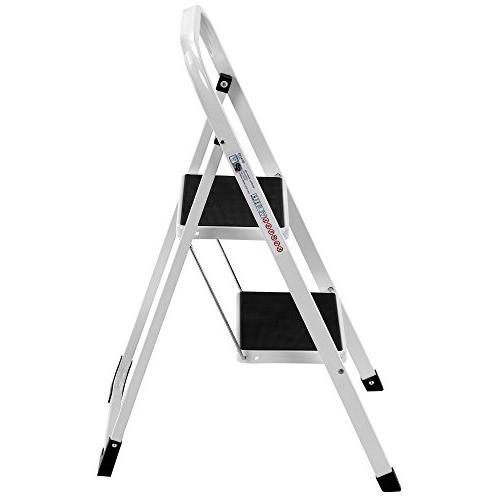 VonHaus Steel 2 Step Ladder Portable Stool with Lightweight 2