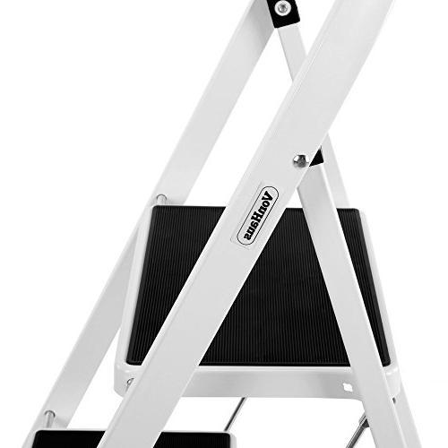 VonHaus Steel 2 Ladder Folding Lightweight and Sturdy, White, 2 Step