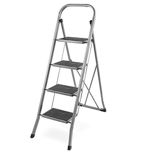 Vonhaus Steel 4 Step Ladder Folding Portable Stool