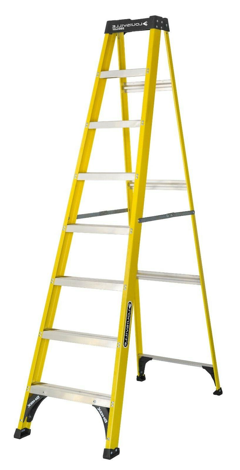 Step Ladder Fiberglass 8-Ft Type 1 Slip-Proof Home Jobsite W