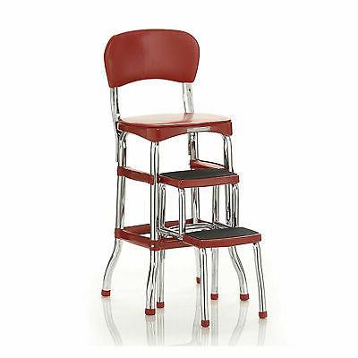 Pleasing Step Stool Chair Red Retro Counter Padded Vintage Uwap Interior Chair Design Uwaporg