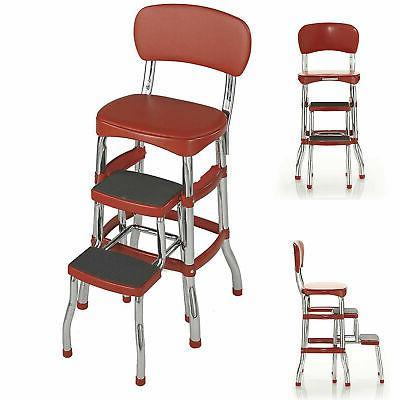Amazing Step Stool Chair Red Retro Counter Padded Vintage Uwap Interior Chair Design Uwaporg