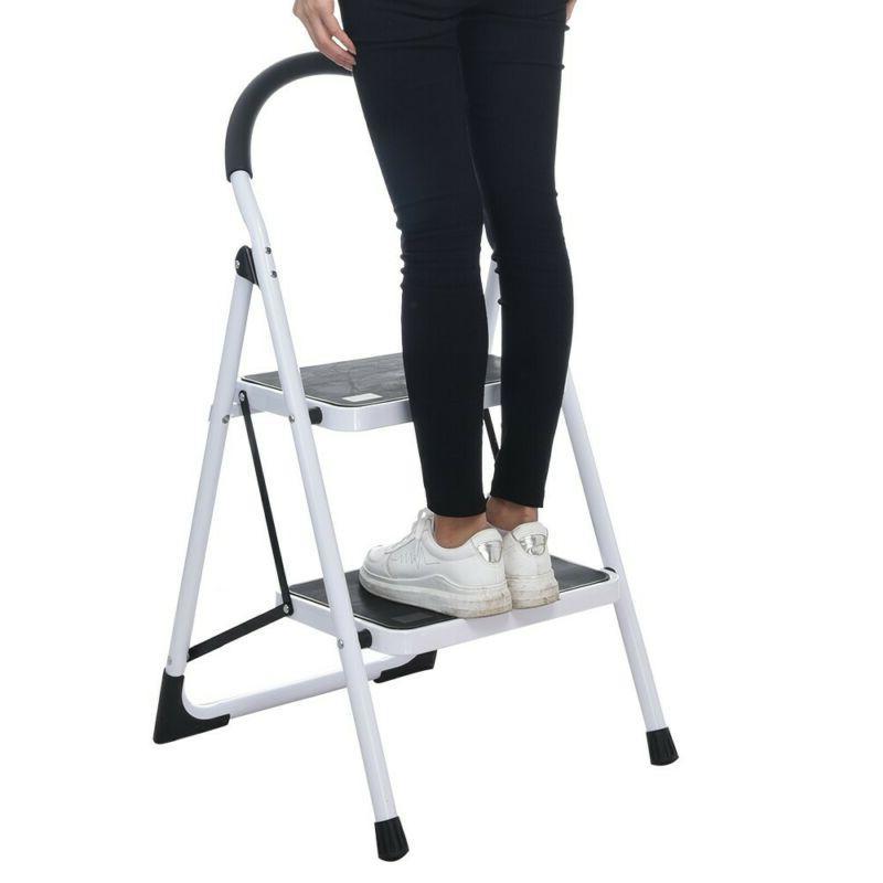 2/3 Ladder Step Stool Ladder W/ Handle Anti-slip Pedal