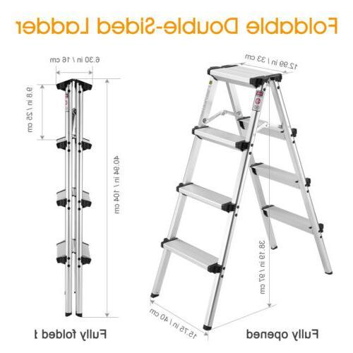 3.2FT Portable 4 Step Ladder Folding Non Slip Safety Tread D