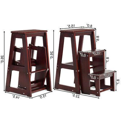 Wood Folding 3 Tier Chair Bench Seat Utility Multi-functional