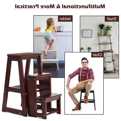 Wood Step Stool 3 Tier Bench