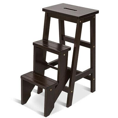wood step stool folding 3 tier ladder