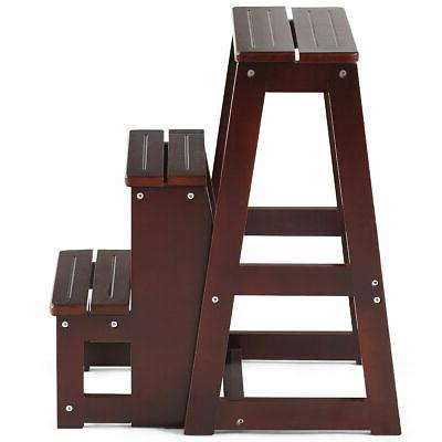 Wood Stool 3 Tier Ladder Bench Utility