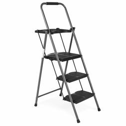 3-Step Stool Ladder Tool Equipment, 330lbs Capacity, Black