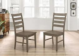 WE Furniture Ladder Back Dining Chairs, Set of 2 - Aged Grey