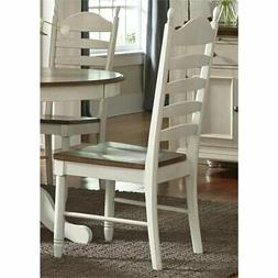 Bowery Hill Ladder Back Dining Side Chair in Cream