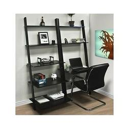 Leaning Shelf Bookcase Computer Desk Office Furniture Home D