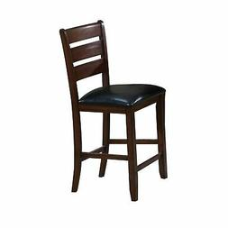 Leather Seat Counter Height Chairs With Ladder Back In Wood,
