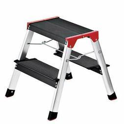 Delxo Lightweight Aluminum 2 Step Ladder RV Ladder Step Stoo