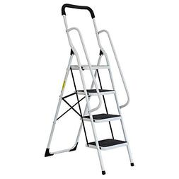 Livebest 4 Steps Ladder Folding Step Stool with Hand Grip No