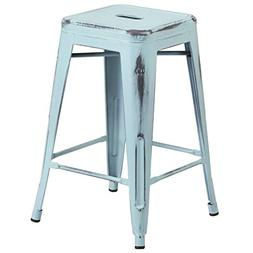 """BOWERY HILL 24"""" Metal Counter Stool in Distressed Dream Blue"""