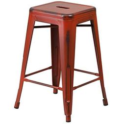 """BOWERY HILL 24"""" Metal Counter Stool in Distressed Kelly Red"""