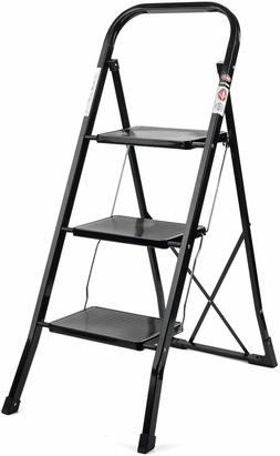 Multi-Step Ladder Folding Step Stool w/ Handgrip & Wide Peda