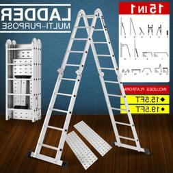New 15.5/19.5FT Folding Step Ladder Multi-Purpose Aluminium
