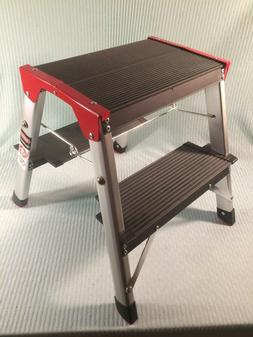 NEW Delxo 2 Step Aluminum RV Step Ladder Double Sided NIB