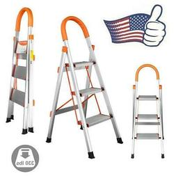 New 3 Step Aluminum Ladder Folding Steel Step Stool Anti-sli