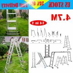 NEW 4.7M Aluminum Telescopic Ladder Folding Extension Buildi