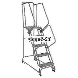 "NEW! Grip 24""W 5 Step Steel Rolling Ladder 21""D Top Step!!"