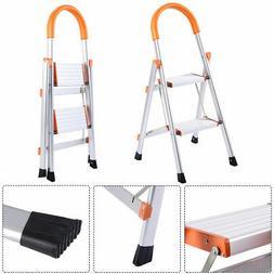 New Non-slip 2 Step Aluminum Ladder Folding Platform Stool 3