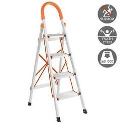 New Non-slip 4 Step Aluminum Ladder Folding Platform Stool 3