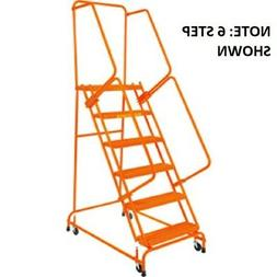 """NEW! Perforated 16""""W 5 Step Steel Rolling Ladder W/ 21""""D Top"""