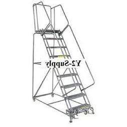 """NEW! Perforated 24""""W 9 Step Steel Rolling Ladder 14""""D Top St"""