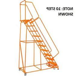 "NEW! Grip 24""W 9 Step Steel Rolling Ladder 14""D Top Step W/"
