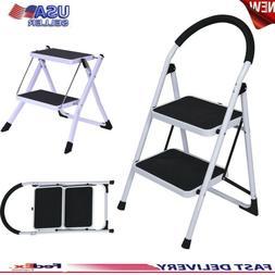 Non Slip 2 Step Ladder Folding Steel Work Platform Stool Hea