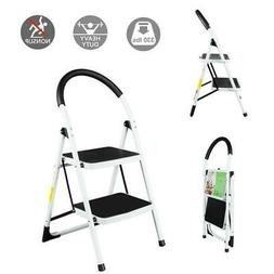 Non-slip 2 Step Ladder Folding Steel Step Stool Heavy Duty w