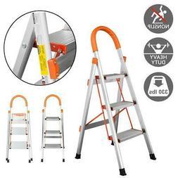 Non-slip 3 Step Aluminum Ladder Folding Platform Stool 330lb