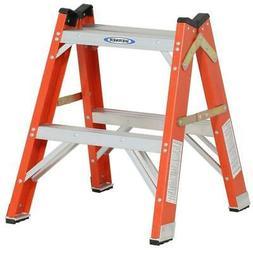Orange/Silver Fiberglass Twin Step Ladder 2 Ft.300 Lbs. Load