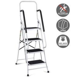 Portable 2 in 1 Non-slip Folding 4 Step Ladder Steel Stool w