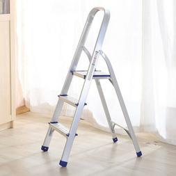 Portable 3 Step Folding Ladder Aluminum Step Stool Anti-slip