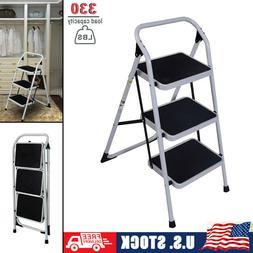 Portable 3 Step Ladder Folding Non Slip Safety Tread Heavy D