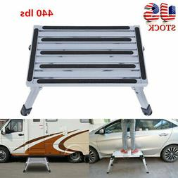 Portable Folding Aluminum Platform Step Stool RV Trailer Cam