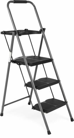 Portable Folding Steel 3 Step Ladder With Tray And Hand Grip