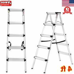 Portable Non-slip Aluminum Folding Double Sided Step Ladder
