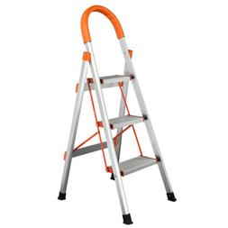 Protable 3 Step Aluminum Ladder Folding Non Slip Safety Trea