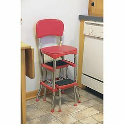 Red Retro Chrome Pull Out Step Stool with Chair Kitchen Bar